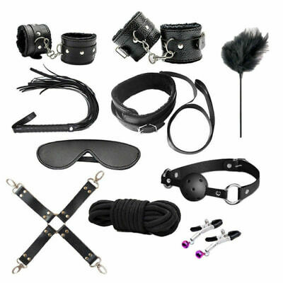 10Pcs Under Bed Bondage Set Restraint Kit Ankle Cuffs Whip System BDSM Toys US