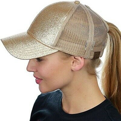 Women's Ponytail Glitter Cap Messy Buns Adjustable Mesh Outdoor Baseball Hat