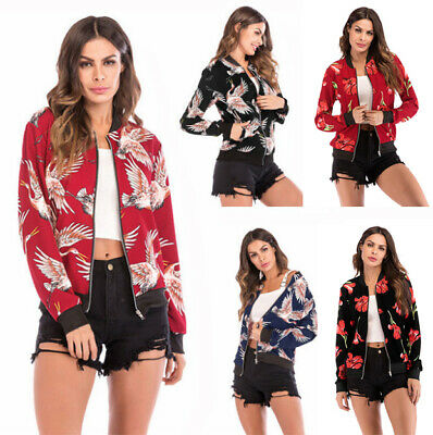 Fashion Women Classic Casual Bomber Jacket Vintage Zip Up  Clothes  Coat Outwear