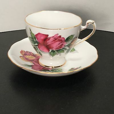 Roslyn China - Shadow Rose - Tea Cup and Saucer - ONE - 1 - England -       BV