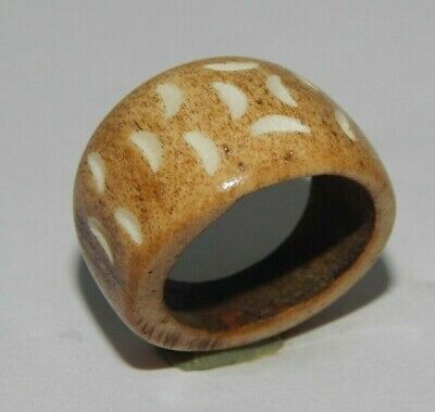 100% Natural Bone Carving Designer Handmade Jewelry Ring Size10 R545