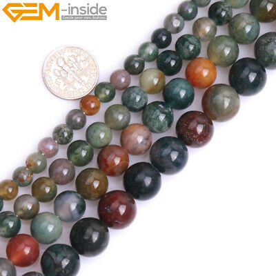 """Natural Multicolor India Agate Big Hole Round Loose Beads for Jewelry Making 15"""""""