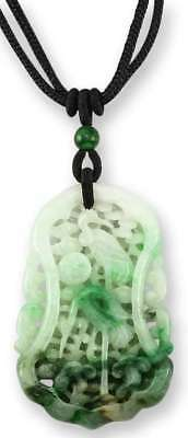Natural Green Jadeite Jade Carving On Adjustable Black Silk Cord Necklace