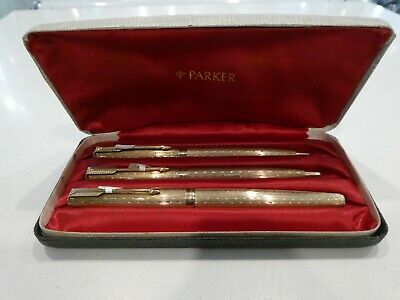 PARKER 61 Presidential Solid 9ct Gold Pens Set (Fountain, Ballpoint & Pencil)