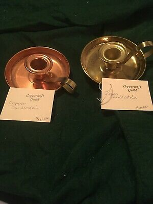 VINTAGE BRASS Copper CANDLESTICKs HOLDER~COPPER CRAFT~MADE IN THE USA