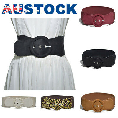 Fashion Women Totem Wide Waistband Elastic Stretch Dress Waist Belt Buckle Band