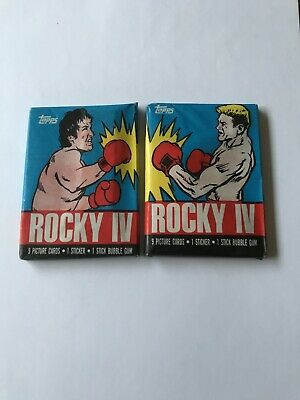 Topps PAIR of ROCKY IV BLUE Wax Packs Cards  1985 Sylvester Stallone  Ivan Drago