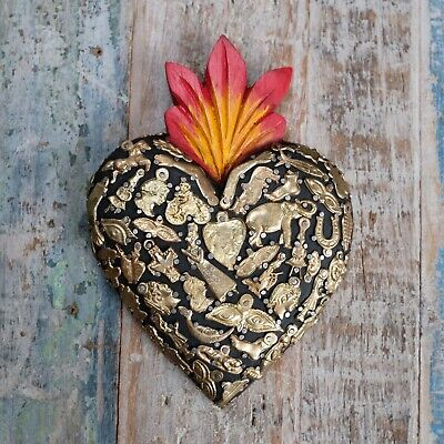 Mexican Milagro Heart Decoration Large Black B