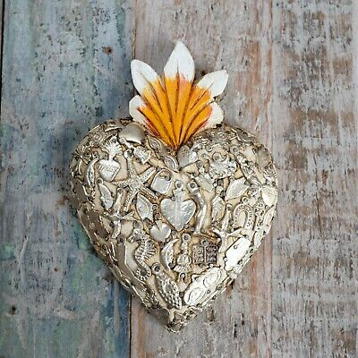 Mexican Milagro Heart Decoration Large Blanco