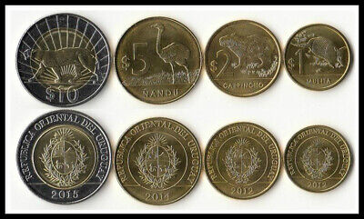 Set of 4 PCS,  Uruguay Coins 1,2,5,10  Peso ,  UNC