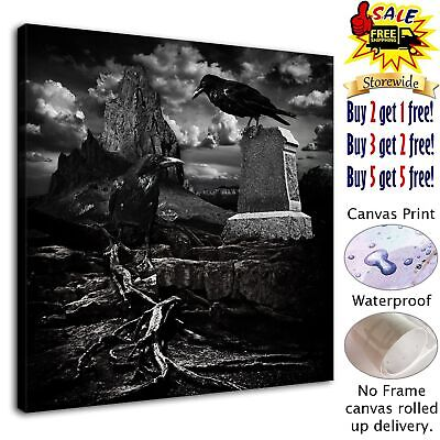 """Halloween Crow HD Canvas print Painting Home Decor Picture Room Wall art 12""""x12"""""""