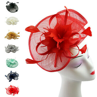 Large Fascinator Weddings Hat Feathers Floral Burst Ascot Races Headband & Clip
