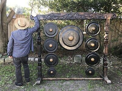 Decorative Large Vintage Handcarved Figural Timber & Metal Gong Set