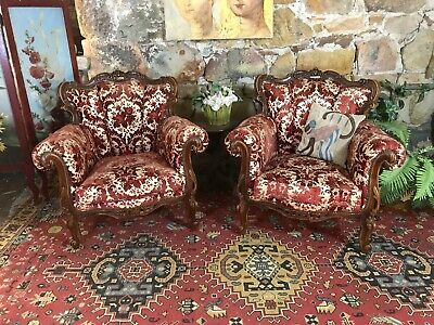 Pair Vintage French Louis Wingback Chesterfield Armchair,Sofa Lounge Chair~Couch