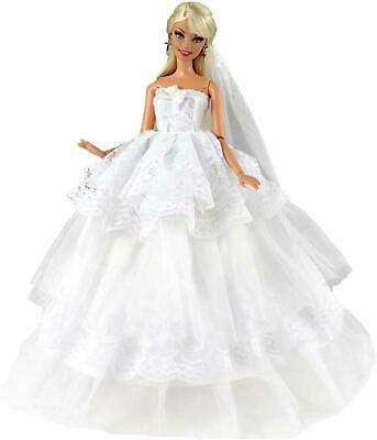 New Barbie Doll Clothes Outfit Traditional Wedding Gown Dress White Lace Veil
