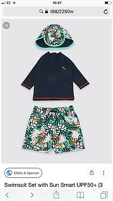 Marks And Spencer Boys 12-18 Months Sun Smart Swim Outfit UPF 50 Was £20