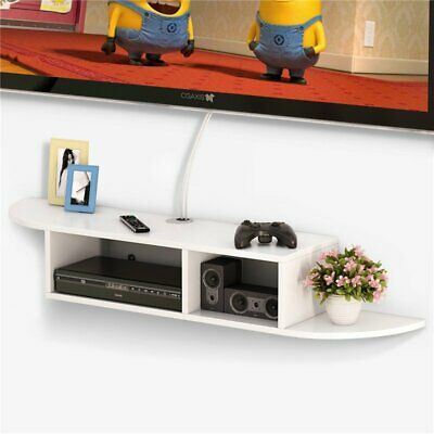 Black White Wall Mount Floating Shelf Media Entertainment Center for Cable Boxes