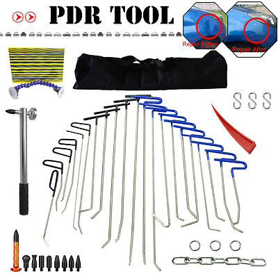 21PCS Big PDR Paintless Rods Hail Dent Ding Repair Tool+Removal Hammer Kits AU