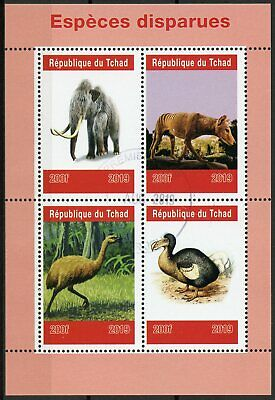 Chad 2019 CTO Extinct Species Wild Animals Dodo Mammoths 4v M/S Birds Stamps