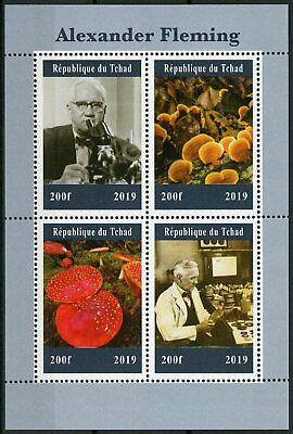 Chad 2019 MNH Alexander Fleming 4v M/S Science Medical Mushrooms Stamps
