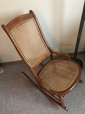 Caned Maple Sewing Rocking Chair, MidCentury Modern, Family Estate Item