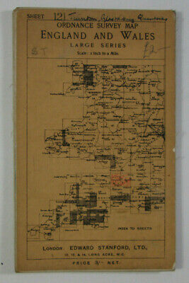 1911 Old Antique OS Ordnance Survey One-Inch Third Edition Map 121 Bridgwater