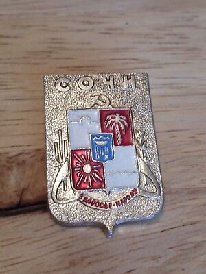 Vintage Retro Soviet Era USSR / CCCP Russian Pin Badge - СОЧИ City Emblem Russia