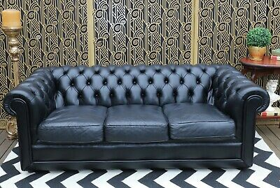 Stunning Rare Black Leather Moran 3 Chesterfield Sofa Couch Lounge Suite