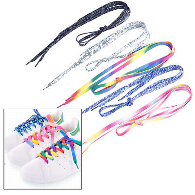 A Pair shoelaces colorful coloured flat round bootlace sneaker shoe la IO