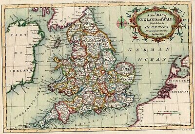 18th CENTURY, Hand Coloured Engraving, A NEW MAP OF ENGLAND AND WALES, c. 1770