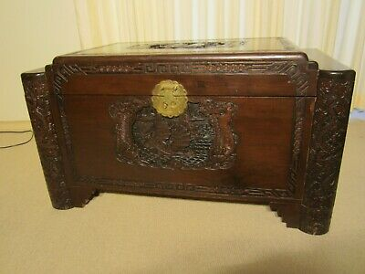 Antique/Vintage Large Carved Chinese Camphorwood Chest/Trunk with Brass Fittings