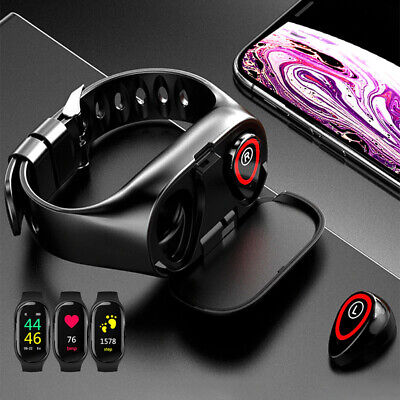 2-in-1 Earbuds Smart Watch Bluetooth Sports Bracelet Blood Pressure Heart Rate