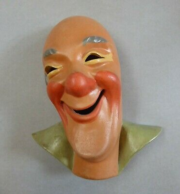 Keramik Wandmaske Zirkus Clown Varieté circus clown Wall Mask um 1956