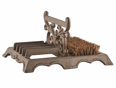 Cast Iron Boot Scraper & Brush Traditional Outdoor Wellingtons Cleaner 27 x 21cm