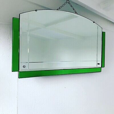 Vintage Frameless Mirror art deco beveled edged frameless Green Mirror