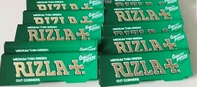 100 Booklets of RIZLA Green Regular Standard Size Rolling Papers 50 per Book