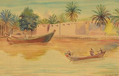 M.A. Elwell, Boats on Tigris River, Abadan, Iran - 1948 watercolour painting