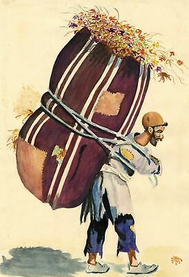 P.B. Elwell, Farm Worker Carrying His Harvest – 1947 watercolour painting