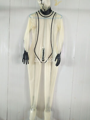 Cosplay Cool Latex Rubber Fashion Schwarz und Transparent Overall Catsuit S-XXL