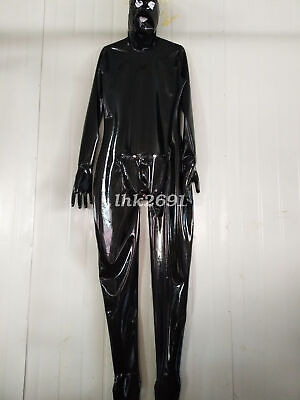 Unisex 100% Latex Rubber Full Cover Schwarz Catsuit Overall Bodysuit S-XXL 0.4mm