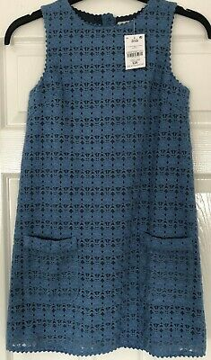New with Tags NEXT GIRLS AGED 12 YRS Cornflower Blue Lace Cotton Dress - Lined