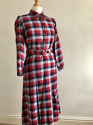 True Vintage Plaid Checked Brushed Cotton Genuine 1940s Landgirl Wartime Dress