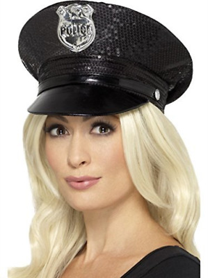 Fever Sequin Police Hat, Black COST-ACC NEW