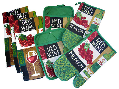 Wine Lovers Kitchen Gift Set  7 Items 3 Dish Towels, 2 Oven Mitts, 2 Pot Holders