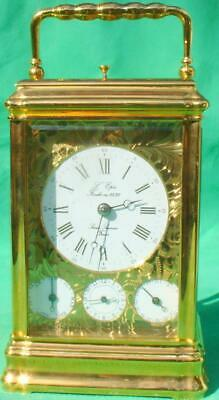L;Epee Vintage Ornate French 8 Day Date Multidial Repeater Alarm Carriage Clock