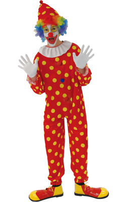 Red Polka Dot Clown Costume Yellow Spotty Jumpsuit Circus Carnival Fancy Dress