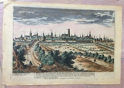 BELGIUM MALINES 1740 by CHEREAU 18e CENTURY NICE COPPER ENGRAVED VIEW