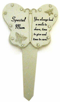 Memorial Butterfly Stick Plaque Tribute Graveside Stake Marker for Special Mum