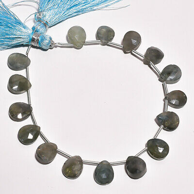 """58.4 Ct. Natural Moss Aquamarine Gemstone Pear Faceted Beads String 7"""""""