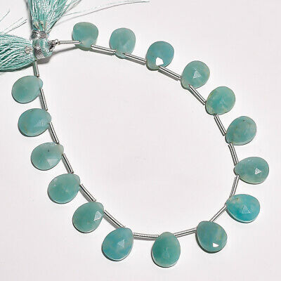 """46.15 Ct. Natural Amazonite Gemstone Pear Faceted Beads String 7"""""""